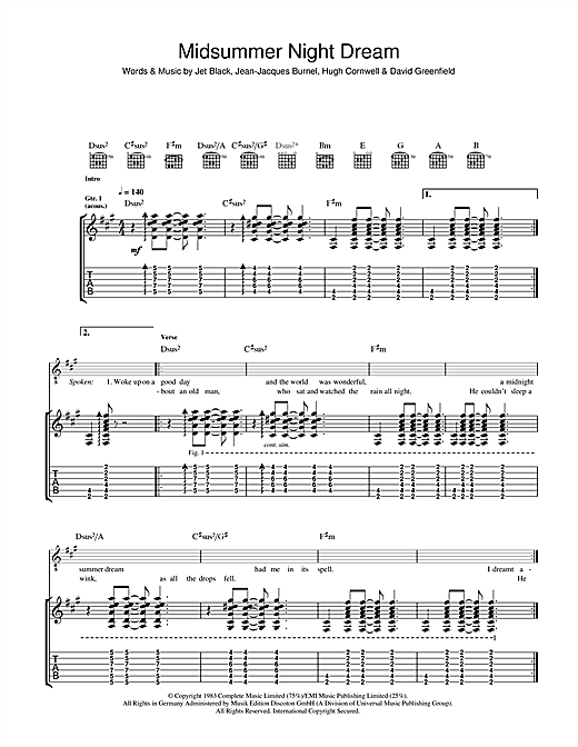 Tablature guitare Midnight Summer Dream de The Stranglers - Tablature Guitare