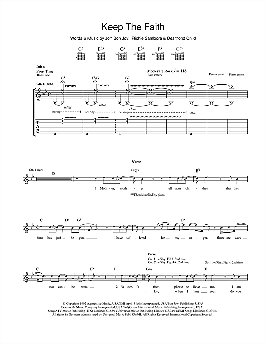Keep The Faith Sheet Music