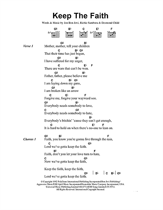 Keep The Faith sheet music by Bon Jovi (Lyrics & Chords – 40799)
