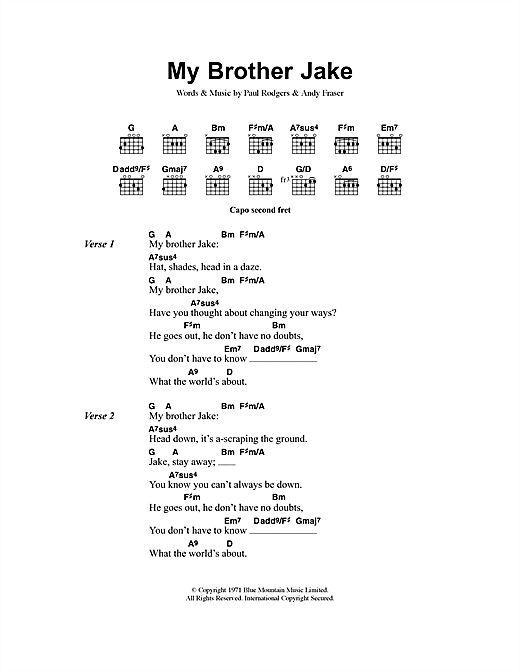 My Brother Jake sheet music by Free (Lyrics & Chords – 40823)