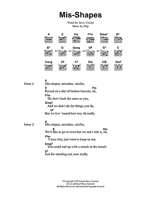 Mis-shapes (Guitar Chords/Lyrics)
