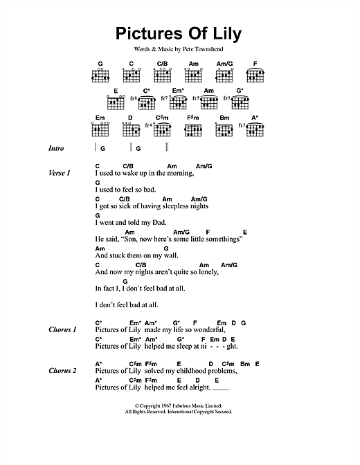 Pictures Of Lily Sheet Music By The Who Lyrics Chords 40825