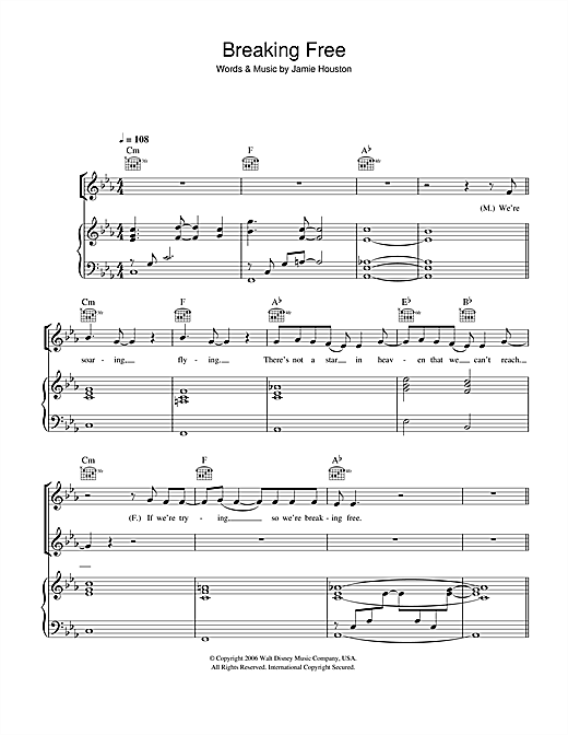 Breaking Free (from High School Musical) Sheet Music