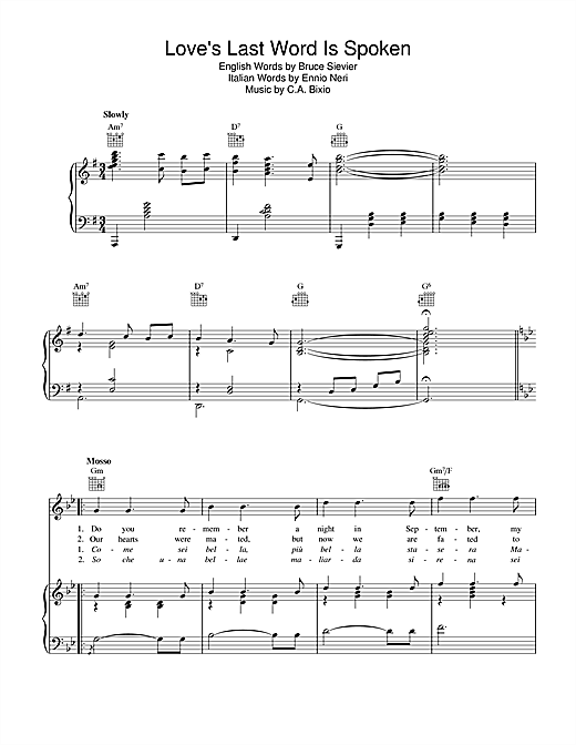 Love's Last Word Is Spoken Sheet Music