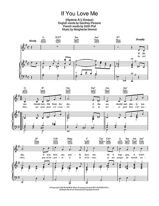 If You Love Me (I Won't Care) (Hymne A L'amour) Sheet Music