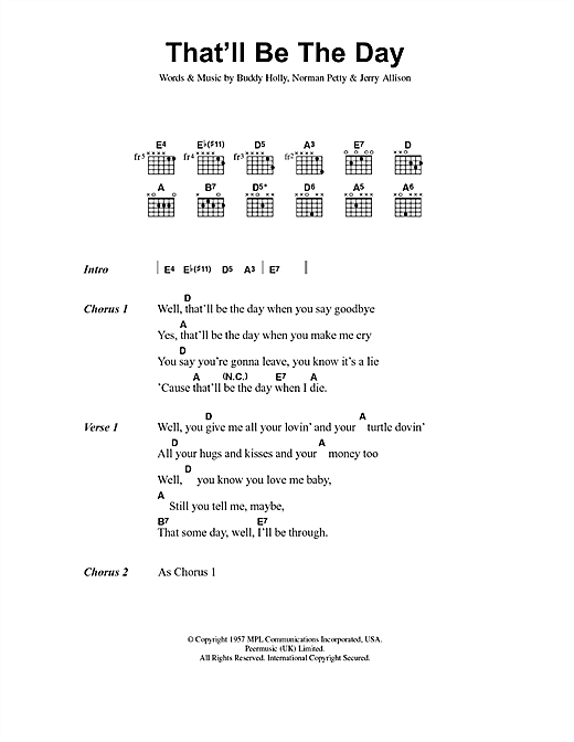 That\'ll Be The Day sheet music by Buddy Holly (Lyrics & Chords – 40861)