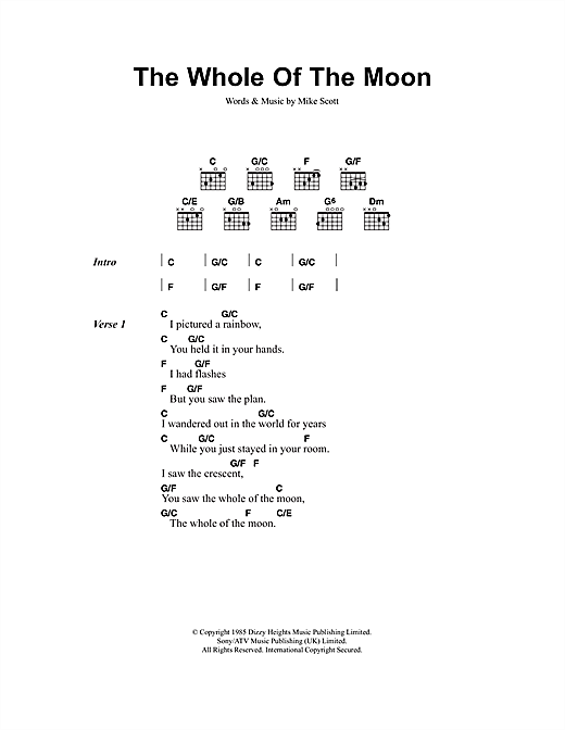 The Whole Of The Moon Sheet Music