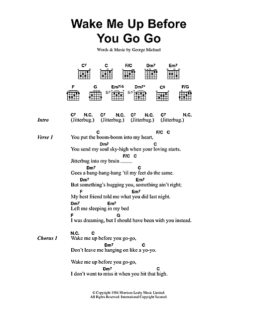 Wake Me Up Before You Go Go sheet music by Wham! (Lyrics & Chords ...