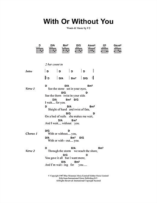 Piano without you piano chords : With Or Without You sheet music by U2 (Lyrics & Chords – 40835)