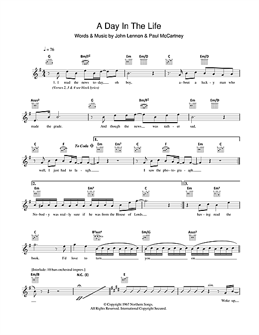 A Day In The Life Sheet Music