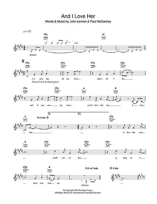 And I Love Her Chords By The Beatles Melody Line Lyrics Chords