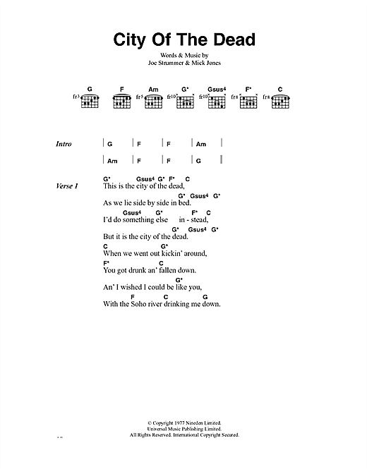 City Of The Dead (Guitar Chords/Lyrics)