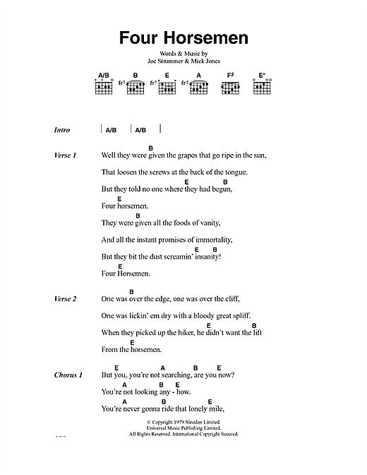 Four Horsemen (Guitar Chords/Lyrics)