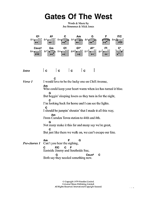 Gates Of The West (Guitar Chords/Lyrics)