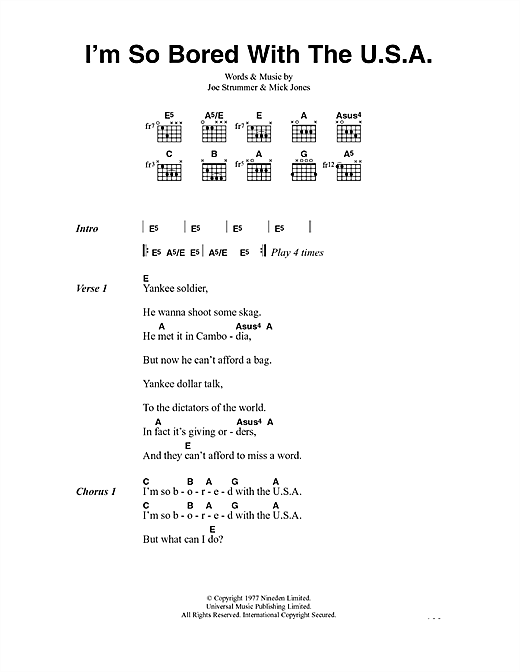 I'm So Bored With The U.S.A. (Guitar Chords/Lyrics)
