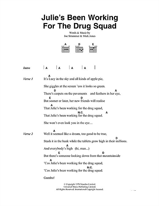 Julie's Been Working For The Drug Squad Sheet Music
