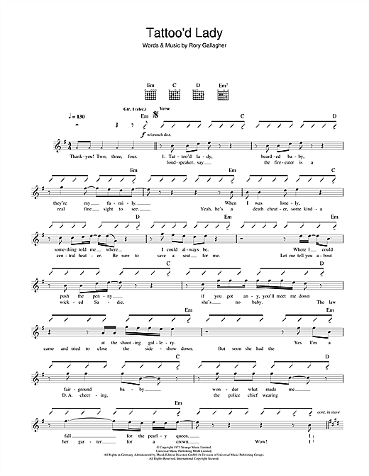 Tattoo'd Lady Sheet Music