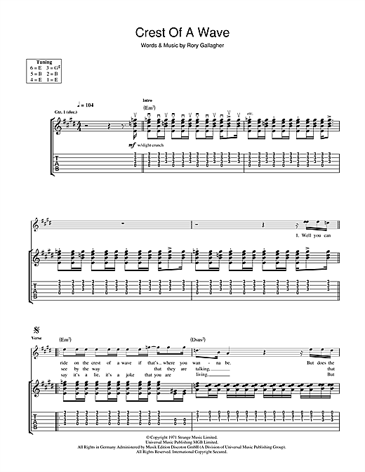 Crest Of A Wave (Guitar Tab)