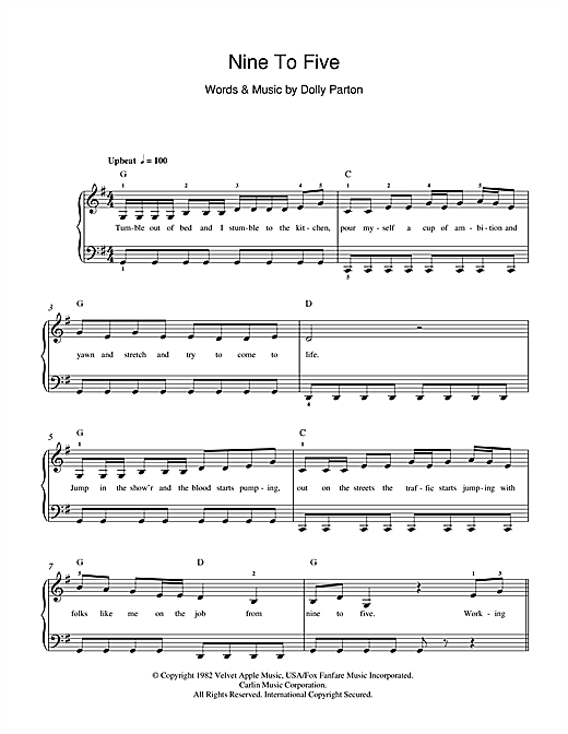 Partition piano Nine To Five de Dolly Parton - Piano Facile