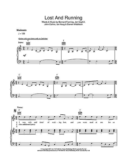 Lost And Running Sheet Music