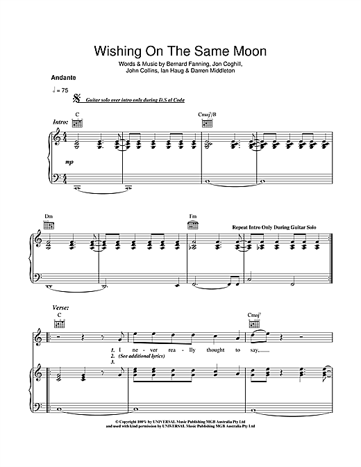 Wishing On The Same Moon Sheet Music