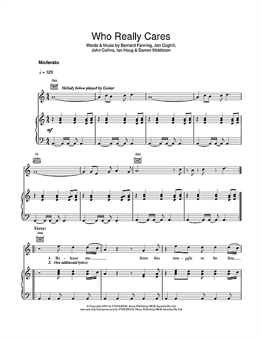 Who Really Cares Sheet Music