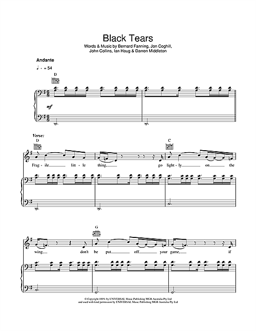 Black Tears Sheet Music By Powderfinger Piano Vocal Guitar 40970