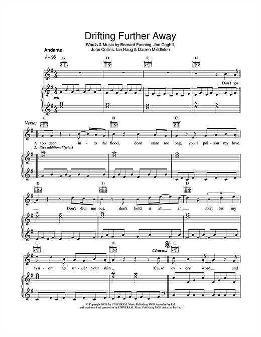 Drifting Further Away Sheet Music By Powderfinger Piano Vocal