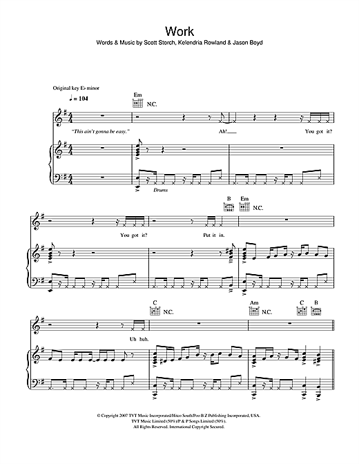 Work Sheet Music