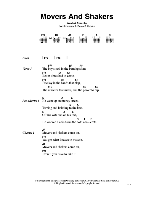 Movers And Shakers Sheet Music