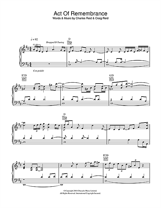 Act Of Remembrance Sheet Music