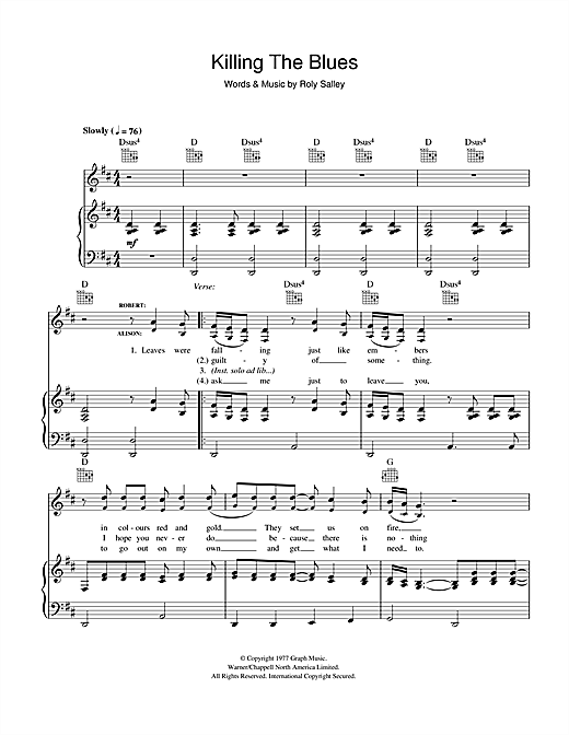 Killing The Blues Sheet Music