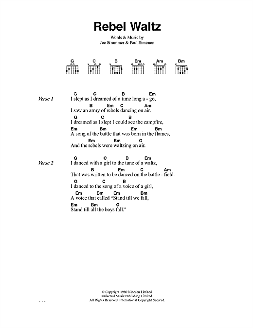 Rebel Waltz (Guitar Chords/Lyrics)
