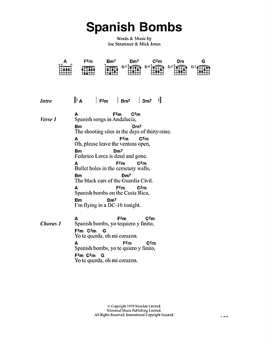 Guitar guitar chords in spanish : Spanish Bombs sheet music by The Clash (Lyrics & Chords – 41065)