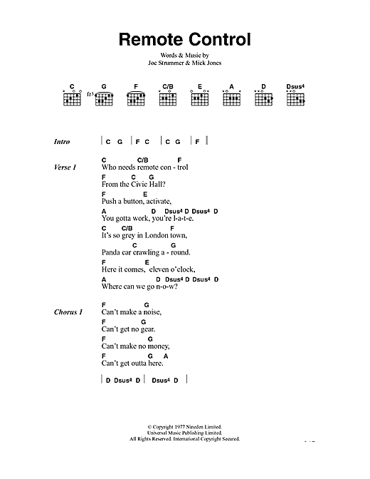 Remote Control Sheet Music