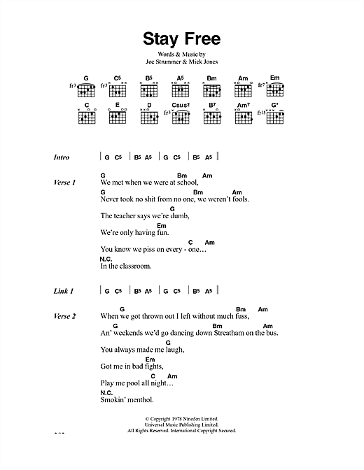 Stay Free Sheet Music