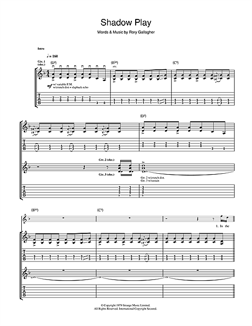 Tablature guitare Shadow Play de Rory Gallagher - Tablature Guitare