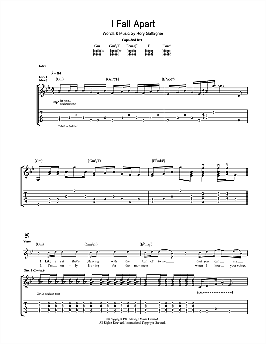 Tablature guitare I Fall Apart de Rory Gallagher - Tablature Guitare