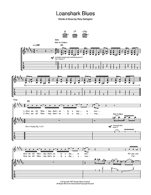 Tablature guitare Loanshark Blues de Rory Gallagher - Tablature Guitare
