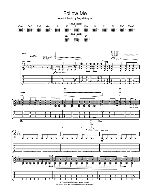 Tablature guitare Follow Me de Rory Gallagher - Tablature Guitare