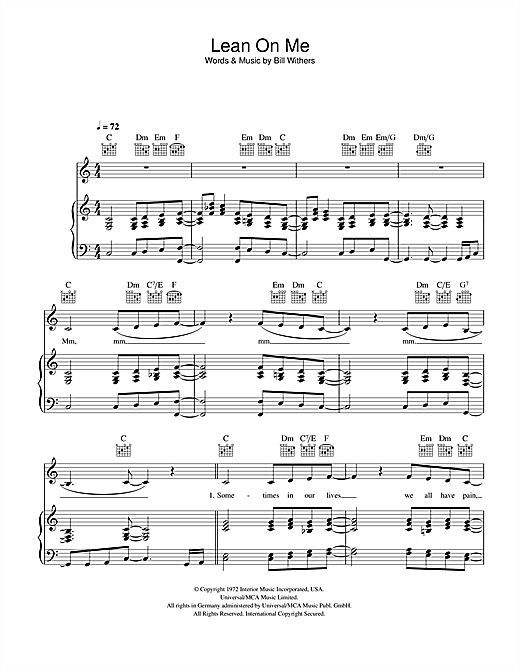 Partition piano Lean On Me de Bill Withers - Piano Voix Guitare