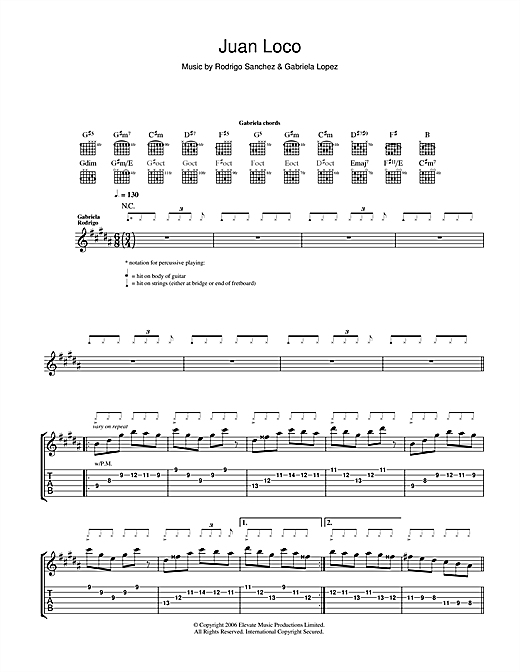 Tablature guitare Juan Loco de Rodrigo y Gabriela - Tablature Guitare