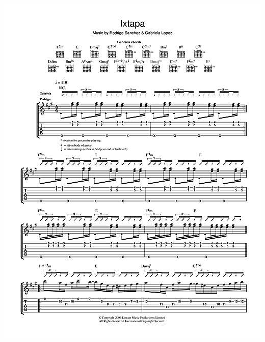 Tablature guitare Ixtapa de Rodrigo y Gabriela - Tablature Guitare