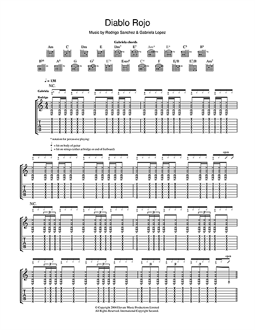 Tablature guitare Diablo Rojo de Rodrigo y Gabriela - Tablature Guitare
