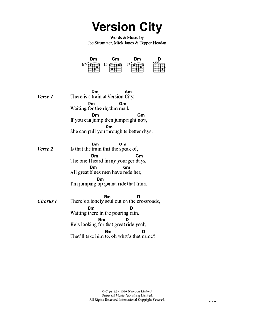 Version City (Guitar Chords/Lyrics)