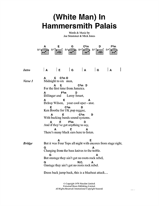 White Man In Hammersmith Palais Sheet Music