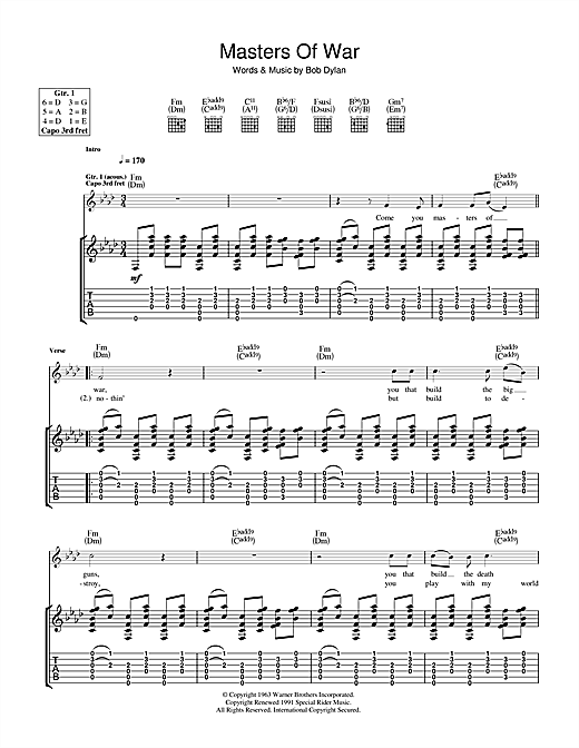 Masters Of War (Guitar Tab)