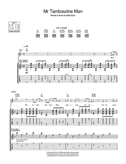 Tablature guitare Mr. Tambourine Man de Bob Dylan - Tablature Guitare