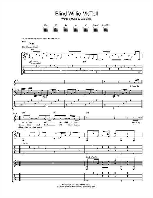 Tablature guitare Blind Willie McTell de Bob Dylan - Tablature Guitare