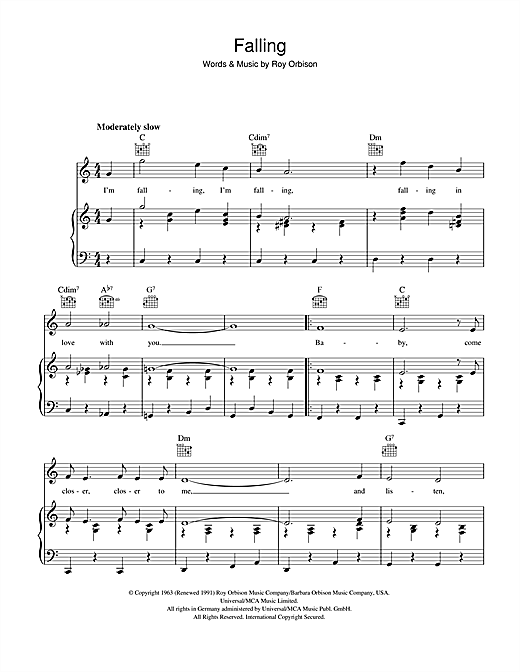 Falling (Piano, Vocal & Guitar (Right-Hand Melody))